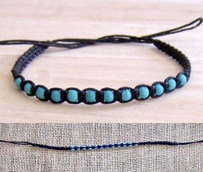 ANKLET TURQUOISE STONE WOOD BEADS BLACK COTTON CORD mens womens beach surfer new