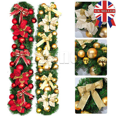 UK 9ft Red Gold Decorated Christmas Garland Decoration Xmas Fireplace Tree Pine