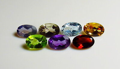 7pc 6x4mm FACETED GEMSTONE SET - IOLITE GARNET PERIDOT AMETHYST rough