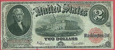 1917 United States $2 Two Dollar Red Seal Large Currency Note       Free S&H