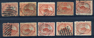 Canada #15 used 1859 5c Beaver x10 from Re-entry/Plate Flaw/Study collections