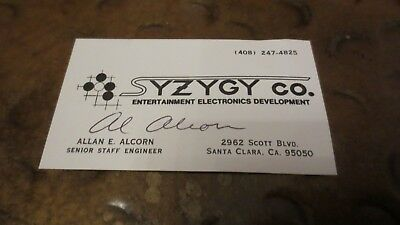 Al Alcorn computer scientist PONG inventor signed autographed business card