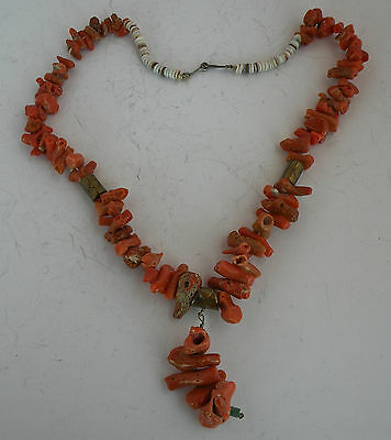 Old Native American large, natural Coral necklace, w stamped Brass beads & shell