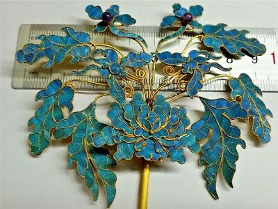 Kingfisher feather hairpin--flower