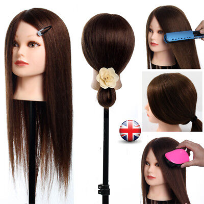 """22"""" Real Human Hair 100% Hairdressing Styling Training Head Mannequin Doll Clamp"""