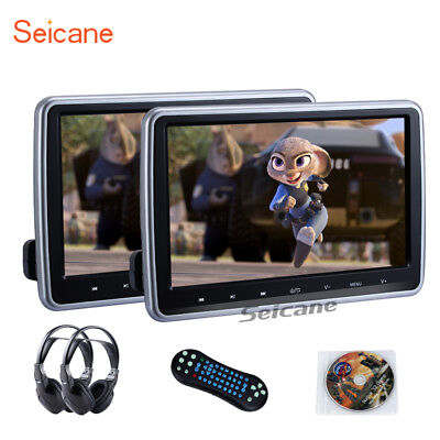"2x 10.1"" Digital TFT LED LCD Car Headrest DVD Player HDMI Monitor Game Headphone"