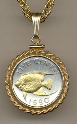 Bermuda 5 Cent Coin Gold on Silver Angel Fish with  14 Carat Chain Necklace