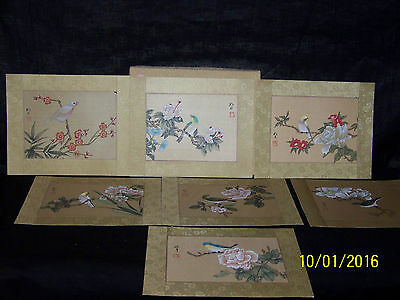 Chinese Republican Original Hand Painted On Silk Paper Catalog/Birds 7 Paintings