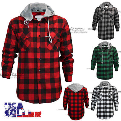 Mens Brawny Buffalo Plaid Flannel Shirt Long Sleeves Button Front Check Hoody