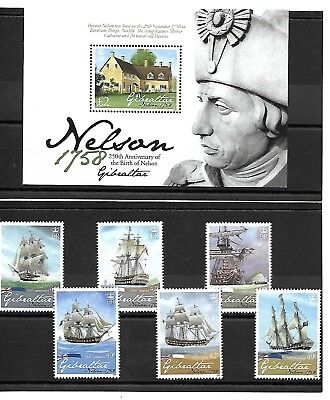 Gibraltar - 2008 set & MS - 250th Birth Anniversary of Admiral Lord Nelson