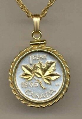 Canada 1 Cent Coin Gold on Silver Maple Leaf  18 inch Classic Necklace with Box