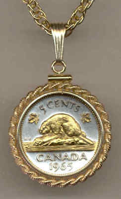 Canada 5 Cent Coin Gold on Silver Beaver 18 inch Special Necklace with Box