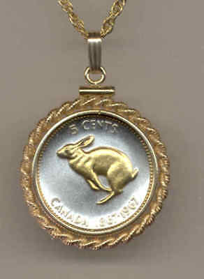 Canada 5 Cent Rabbit Coin Gold on Silver Necklace with Gift Box Free Post
