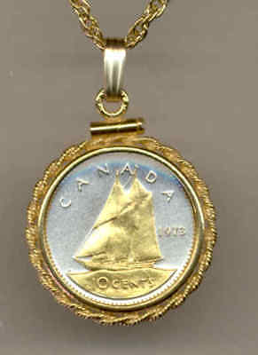 Canada 10 Cent Bluenose Sail Boat Coin Gold on Silver 14 Carat Chain Necklace