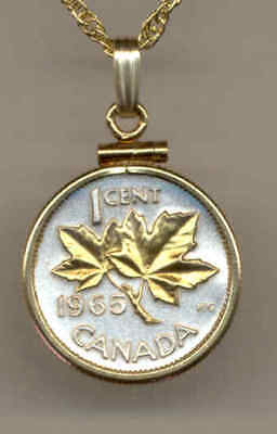 Canada 1 Cent Coin Gold on Silver Maple Leaf  w/ Stylish 14 Carat Chain Necklace
