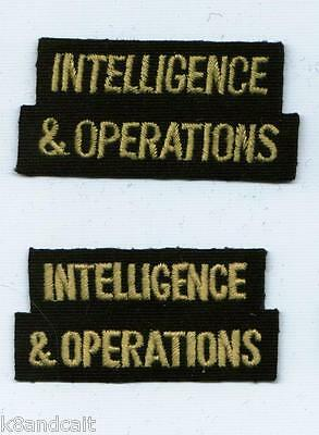 **ORIGINAL** Pair of WWII INTELLIGENCE & OPERATIONS Shoulder Titles