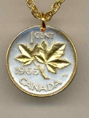 Canada 1 Cent Coin Gold on Silver Maple Leaf  on a 14 Carat Timeless  Necklace