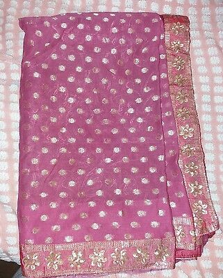 Half & Half Sari As Dusty Pink Colour as Half Nett