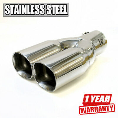 Twin Car Exhaust Tip Muffler Trim Pipe Chrome Stainless Steel Durable