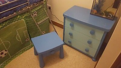ikea mammut blue bedroom furniture chest of drawers and bedside table