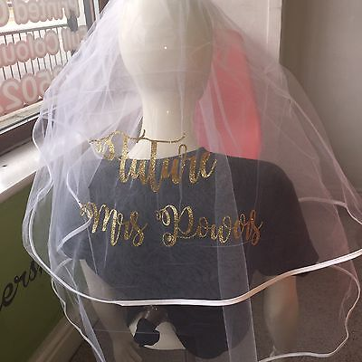 Personalised Veil Wedding Hen Party Glitter Sparkle Hot Flex Stunning
