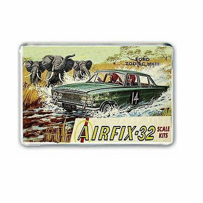 Retro Airfix : Ford Zodiac Mk3 Box Art Jumbo Fridge /locker Magnet