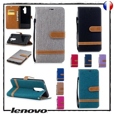 Etui porte cartes coque housse Jean Design Wallet case cover Lenovo K8 Note
