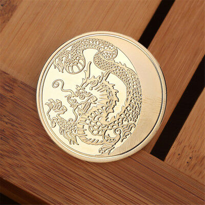 Gold Chinese Dragon Commemorative Coin Collection Memorial Coins Gift 40mm