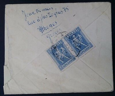 SCARCE 1911 Greece Cover ties 2 x 1D Mythology stamps canc Athens to USA
