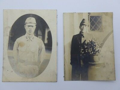 WW2 / Japanese Vintage Photo / Man / Army Soldier / Lot of 2 / 1930s