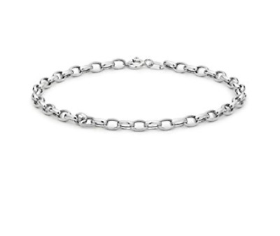 9ct White Solid GOLD Adjustable Anklet 25cm/10 inch hallmarked + FREE Gift