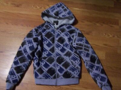 """Boy's SMALL Gray/Blue Print Fleece lined hoodie~""""Original Deluxe""""~$General~NWT!"""