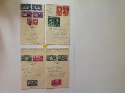 south african 1947/49, 4 fcds on royal hotel durban covers