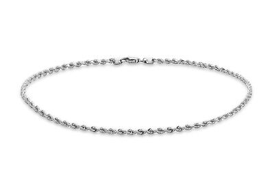 9ct White Solid GOLD Diamond-Cut Rope Chain Anklet 25cm/10 inch + FREE Gift