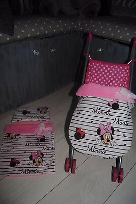 character red pink minnie mouse doll pram cot blanket pillow stayput blanket