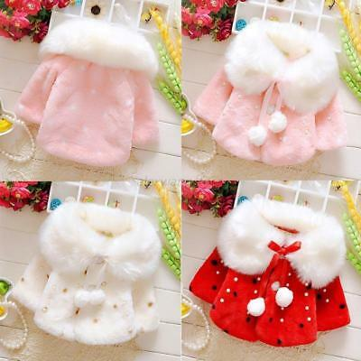 Baby Girl Winter Christmas Warm Cape Toddler Coat Cloak Jacket Fur Outerwear 0-3