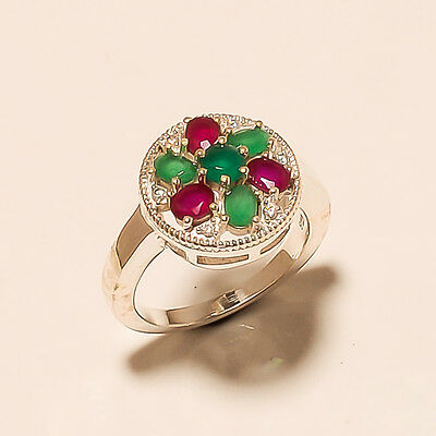 Natural Ruby, Emerald Gemstone 925 Sterling Silver Wedding Women Cocktail Ring