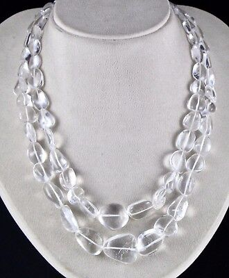 Bargain 2L Natural Rock Crystal Quartz Long Cabochon Beads Necklace With Cord