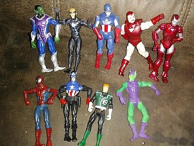 Huge Lot Of Marvel 3.75  Lot Of Action Figures 9 Lot Spidey Ironman Hobgob Other