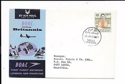 Sudan B.o.a.c. 1962 First Flight To Mauritius. Sealed
