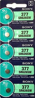 5 New SONY SR626SW Silver Oxide 1.55v Watch Batteries MADE in JAPAN Aussie Stock