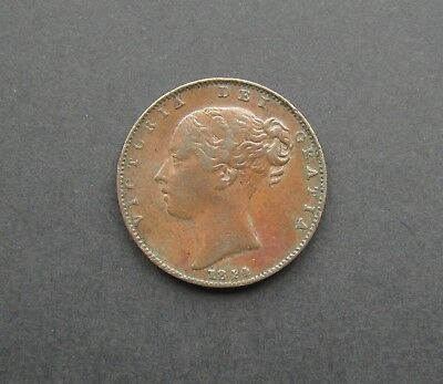 Victoria 1844 Copper Young Head Farthing - Rare Key Date - Vf