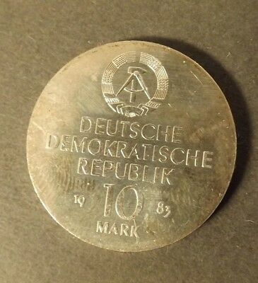 East Germany 10 Mark Silver  Coin 1983 Richard Wagner Nice Coin