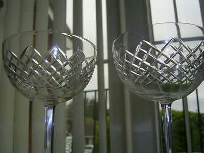 2  Edwardian Vintage Tall Cut Champagne Bowls / Saucers / Coups / Glasses