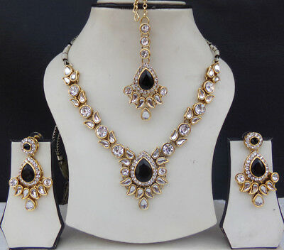 Bollywood Style Fashion jewelry Ethnic Indian Kundan Necklace Earrings Tikka Set