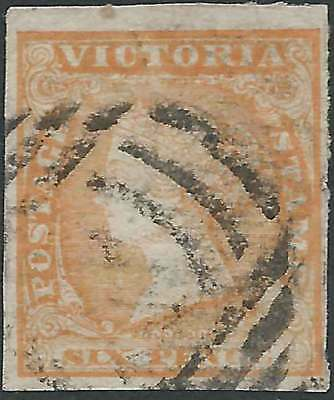 VICTORIA 1857-64 WOODBLOCK 6d Orange ROULETTED PERFS lovely fine used RARE