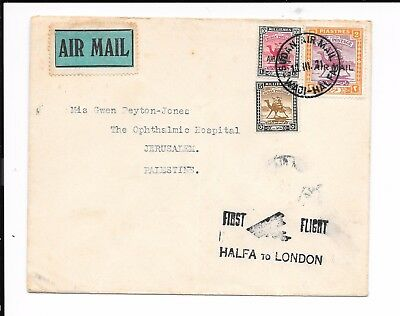 Sudan 1931 First Flight Halfa - London . Addressed To Palestine