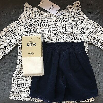 M&S 3-part set Navy babycord shorts with tunic and tights BNWT Age 6-7 years