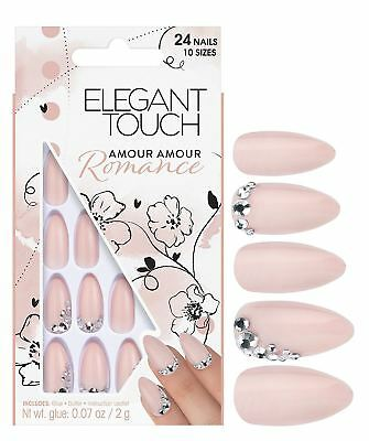 Elegant Touch Romance Amour Amour False Nails Glue Included 24 Nails Nude