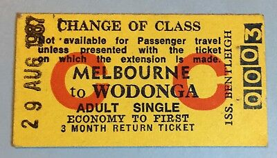 Vintage Train Ticket MELBOURNE TO WODONGA CHANGE OF CLASS 0003